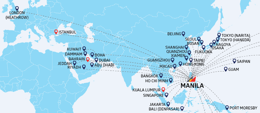 Philippine airlines international routes